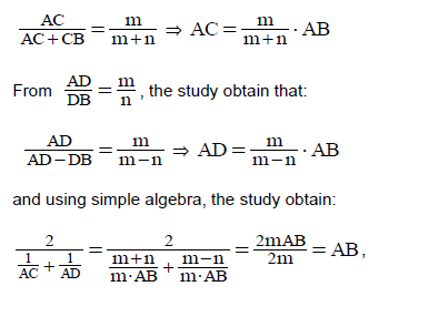 Educational research and reviews using the wonder of inequalities which means that the segment ab is the harmonic average of the sections ac and ad for example in every triangle the bisectors of the internal and external fandeluxe Gallery